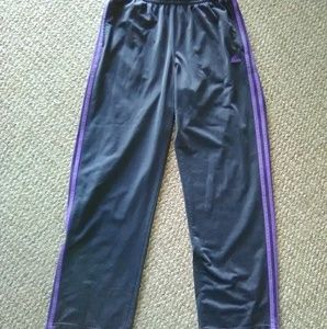 Adidas 🏀Men's Sz L Navy & Purple 3 Stripe Pants